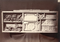Buddhist sculpture fragments, nails and and hinges, from Rhode Tope, Sanghao, Peshawar District